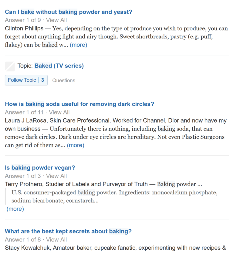 quora results